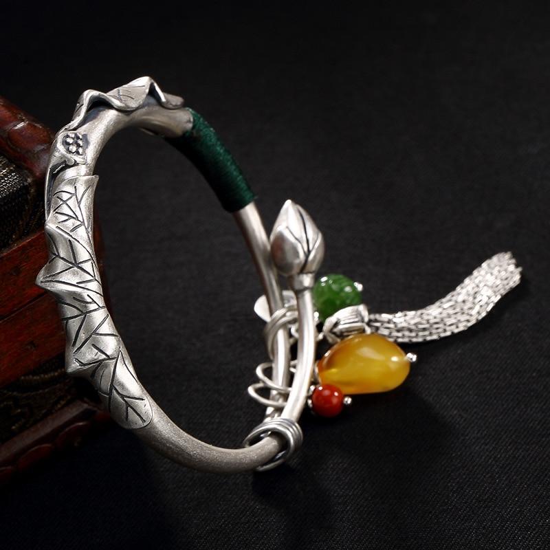 Vintage 999 Fine Silver Ethnic Lotus Tassel Bangle For Women Gemstone Natural Sterling Silver Cuff Bracelets Bijoux Bangle