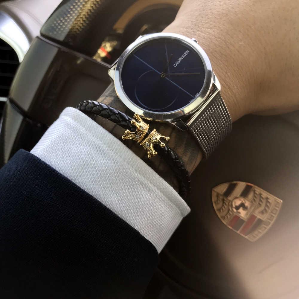 Mcilroy czarna skórzana bransoletka/oryginalna/mężczyźni/kobiety bransoletki bransoletki luksusowe złota korona cz cyrkon magnetyczna bransoletka biżuteria męska 2019