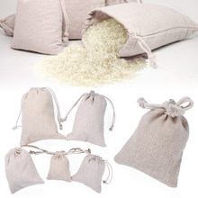 1/Pcs fait à la main coton plaine bonbons organisateur cadeau sacs cordon poche sac alimentaire stockage mariage cuisine faveur sacs de rangement