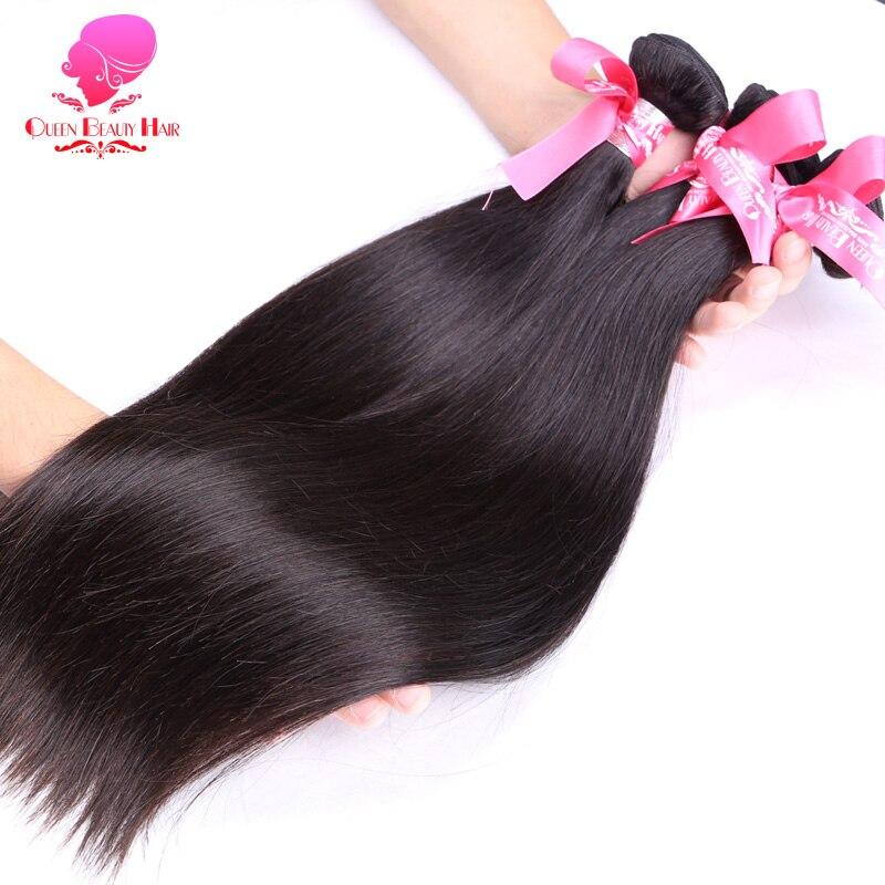 QUEEN BEAUTY 3 4 шт. прямые бразильские натуральные волосы, волнистые пряди, предложения, необработанные человеческие волосы для наращивания, можн...