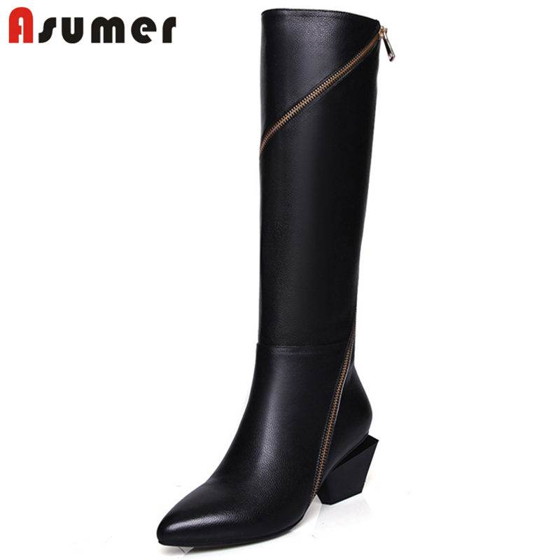 ASUMER HOT SALE 2018 fashion spiral zip genuine leather boots stiletto heel knee high boots for women pointed toe winter boots asumer 2018 hot fashion pointed toe cow suede leather boots stiletto high heels over the knee boots for women zip winter boots