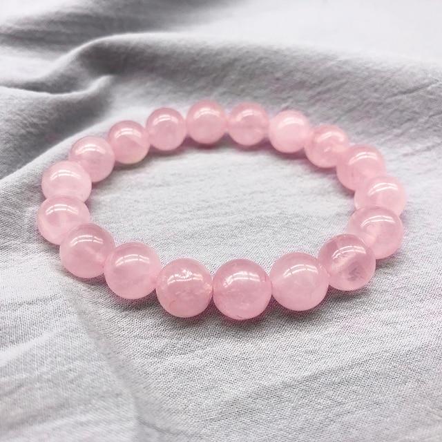 Atacado Rosa Pó de cristal de Quartzo Pedra Natural Jóias Contas Pulseira Corda Elástica Pulserase Streche Amantes Presente da mulher