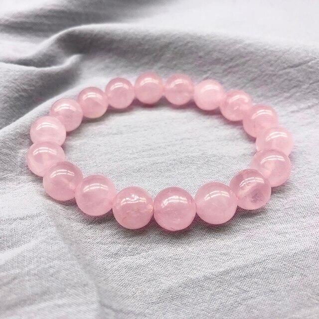 Venta al por mayor pulsera el stica de piedra Natural de cuarzo con polvo de rosa