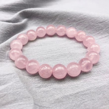 Wholesale Pink Rose Powder crystal Quartz Natural Stone Streche Bracelet Elastic Cord Pulserase Jewelry Beads Lovers woman Gift(China)