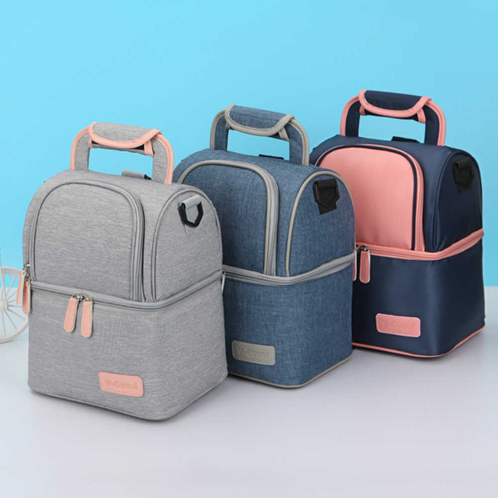 Thermal Lunch Box Cooler Food Double Layer Women Baby Milk Bottle Bag Backpack Set