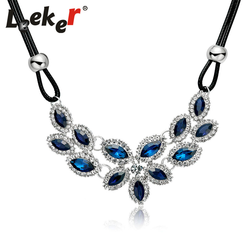 fd1a70c570 YFJEWE 2018 Top Sell New Silver Plated Blue Crystal Necklace ...