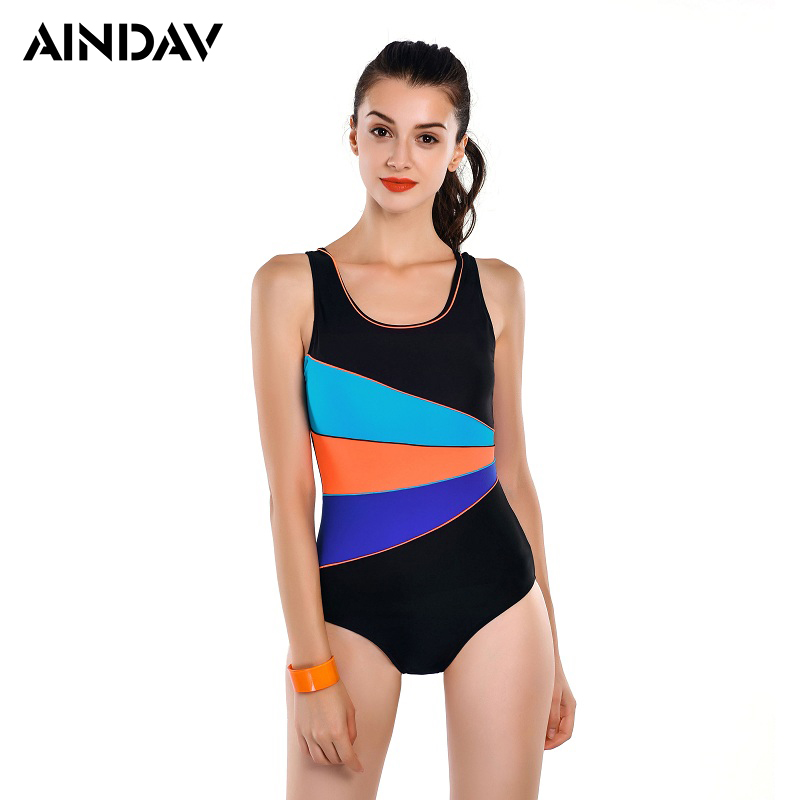 2018 New Swimming Suit for Women One Piece Swimsuit Sports Bathing Suit SlimFemale Patchwork Swimwear Bodysuits Padded Trikini