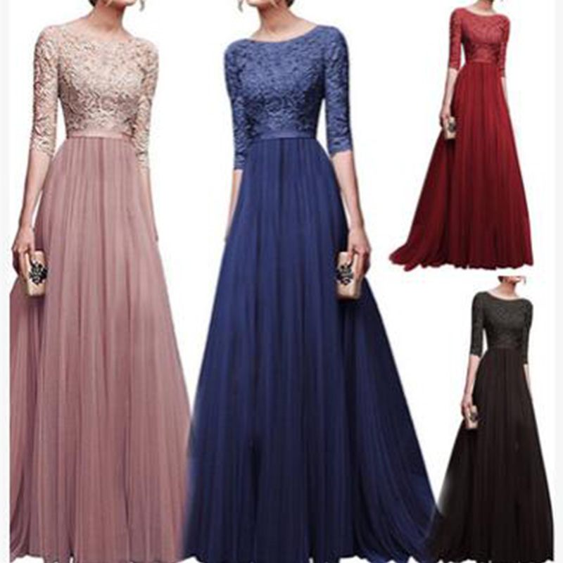 0698b52ca5 2018 New elegant half sleeve chiffon lace stitching floor-length women  party prom evening red
