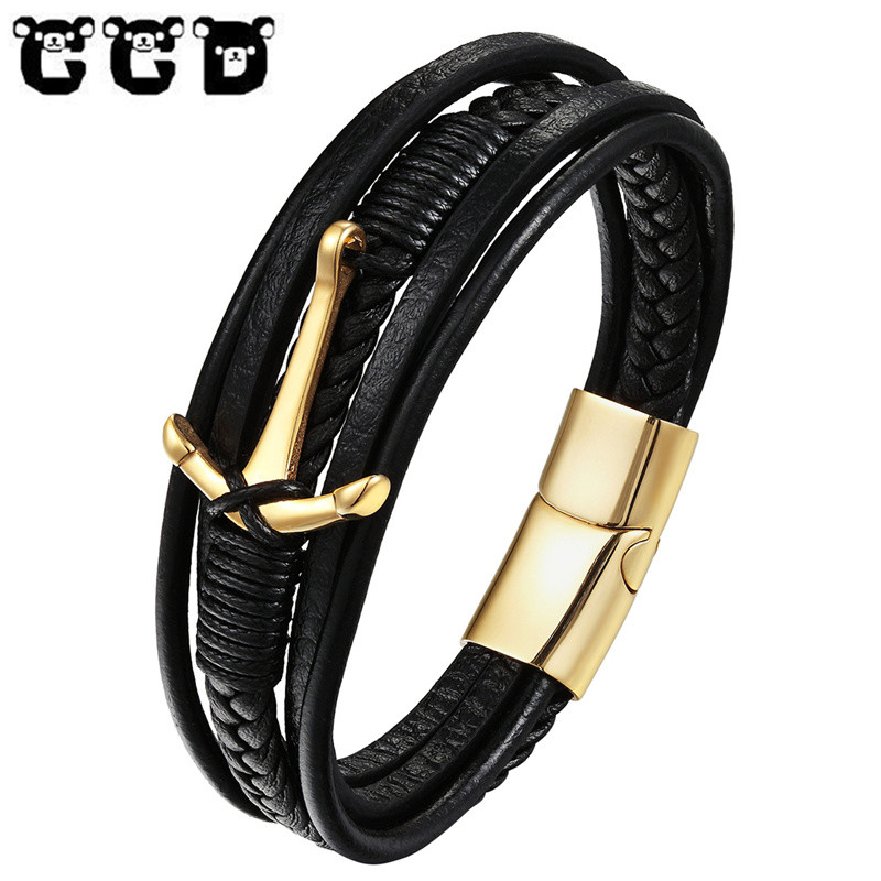 bc5f883c18f6 Fashion Handmade Braided Genuine Leather Anchor Bracelets Men Gold Black  silver colour Steel Bracelets   Bangles Women Pulseras