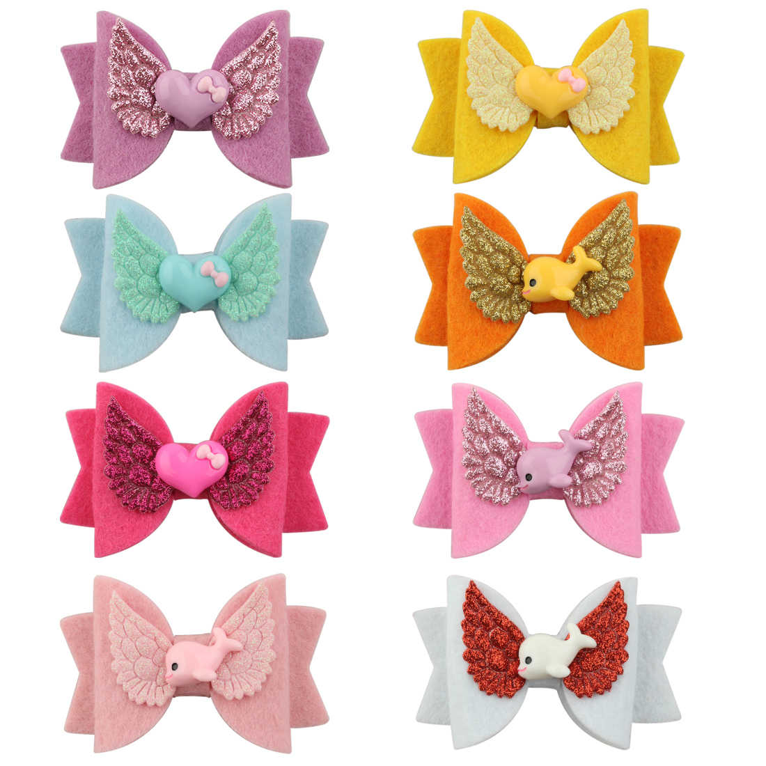 1 PC Girls Bows Clips Spring Head Wears Soft Hairbow Shiny Wing Glitter Hairpins Heart Animal Flower Children Hair Accessories