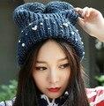 Nueva perla de moda Wome caliente del invierno de punto Beanie Ski Hat Cap