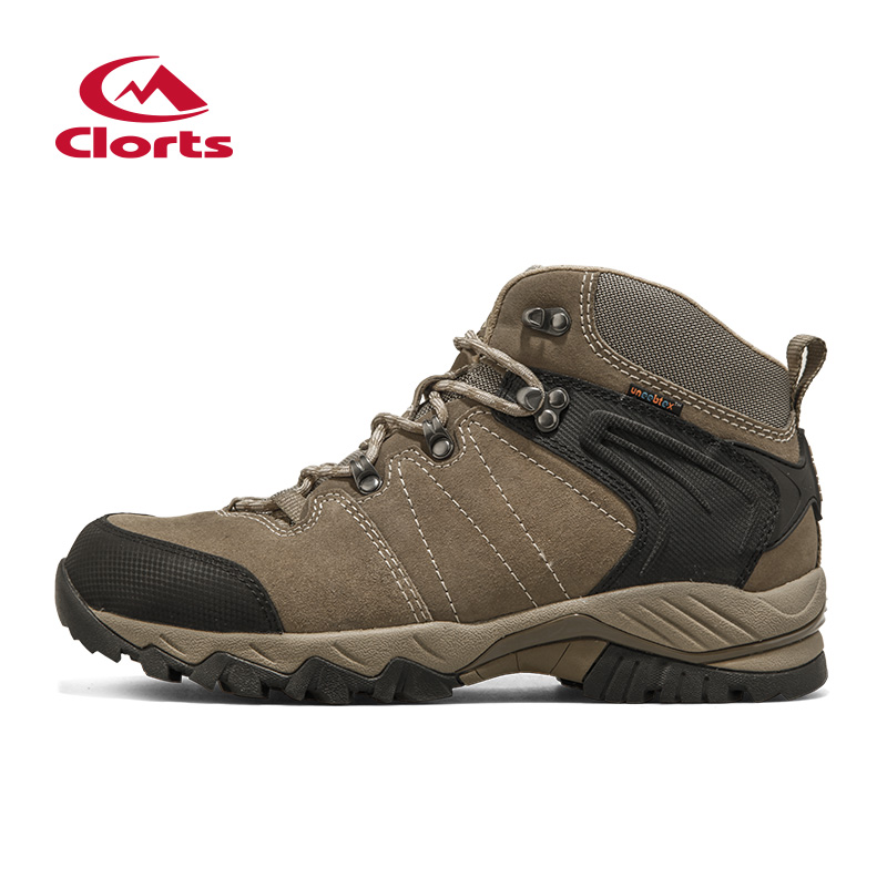 Clorts Waterproof Hiking Boots For Men Trekking Shoes Suede Leather Outdoor Shoes Male Climbing Mountain Shoes Sneakers HKM-822G clorts men hiking shoes boa lace up outdoor shoes waterproof trekking shoes for men free soldier summer climbing shoes 3d027a