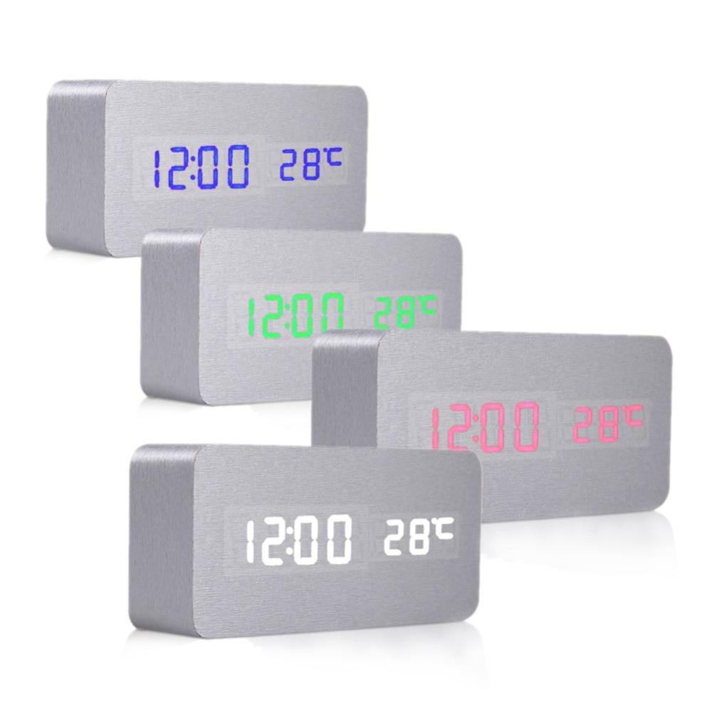 Modern Design Sound Control Desk Bedside Alarm Clocks Digital Desktop Clock