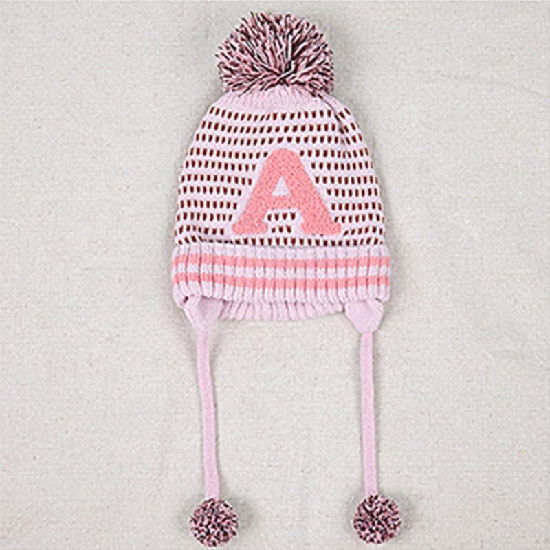 Clearance Fashion Autumn Winter Infants Letters Pattern Woolen Yarn Ball Earbud Hat For Baby Boy Girl Kids