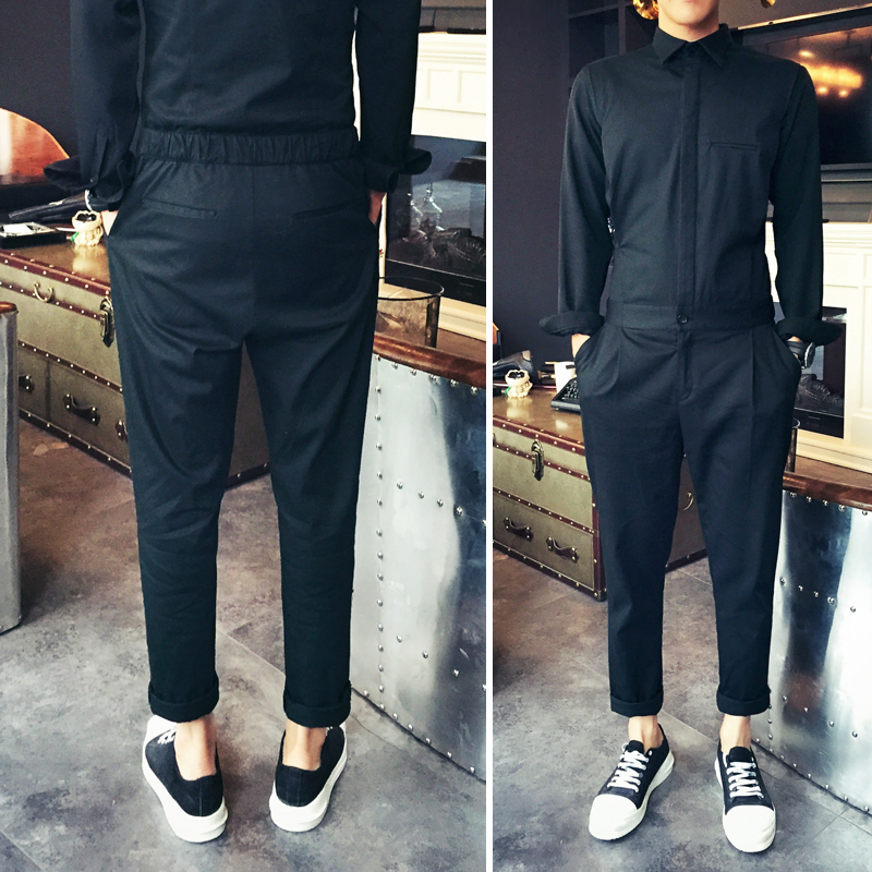 Slim 2016 Blackish Personalidad Negruzco Moda Green De Verde Jumpsuit La Pantalones Ropa Masculina Camisa Cantante Trajes Set Casual Nueva FrqwSF6