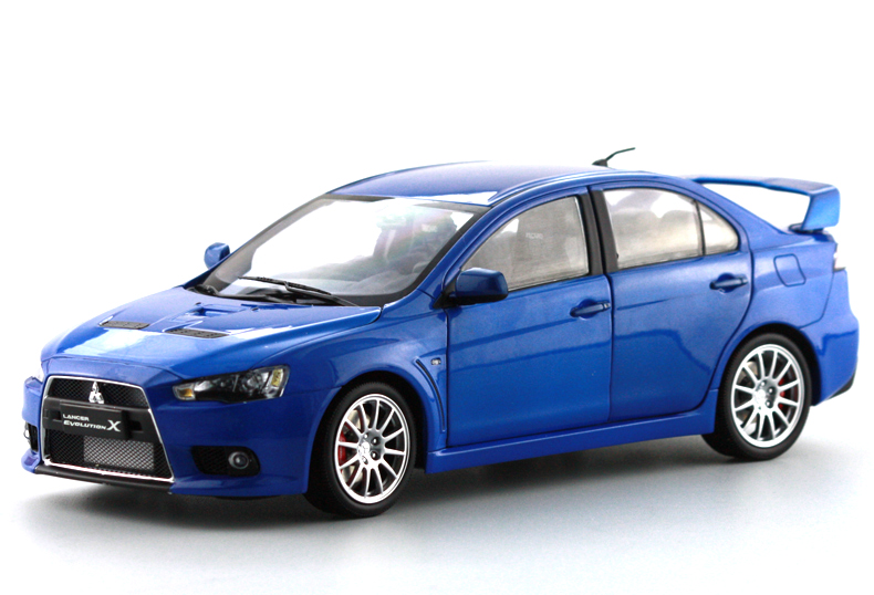 1:18 Diecast Model for Mitsubishi Lancer Evolution X 10 Blue Alloy Toy Car Miniature Collection Gifts EVO X 1 43 diecast model for mitsubishi eclipse spyder blue alloy toy car miniature collection gifts