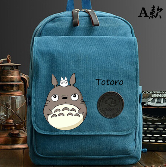 Anime Tonari no Totoro Cosplay Hand-painted cartoon canvas student fashion backpack child gift new anime tonari no totoro cosplay canvas shoulder bag female japanese and korean college wind travel backpack student bag graffiti