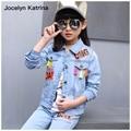 Jocelyn Katrina Meninas Conjuntos Escolares Adolescentes Cowboy Casacos Roupa dos Miúdos das Crianças Denim Fatos de Treino Meninas de Jeans Roupas