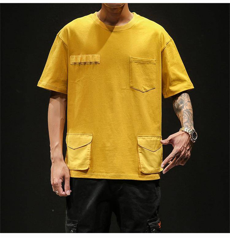 Hip Hop T-shirts Men With pockets Harajuku Oversized Tops Tee Japan Tshirt Streetwear Casual Solid High Street T Shirts Boy 35