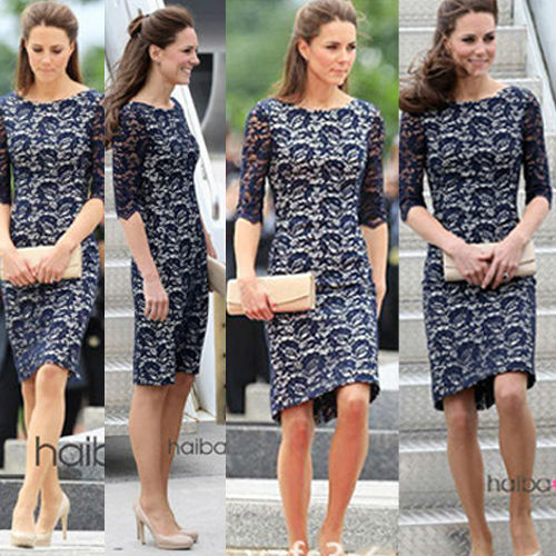 5d46c7128cd 2015 Kate Middleton Lace Dress Half Sleeve Round Collar Blue Midi Ladies  Casual Sexy Women Summer Dresses Plus Size Vestidos-in Dresses from Women s  ...
