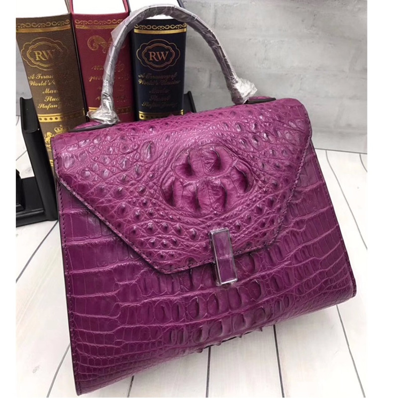 Luxury Brand Designer 100 Genuine Alligator Skin Women s Solid Handbag Exotic Crocodile Leather Female Shoulder