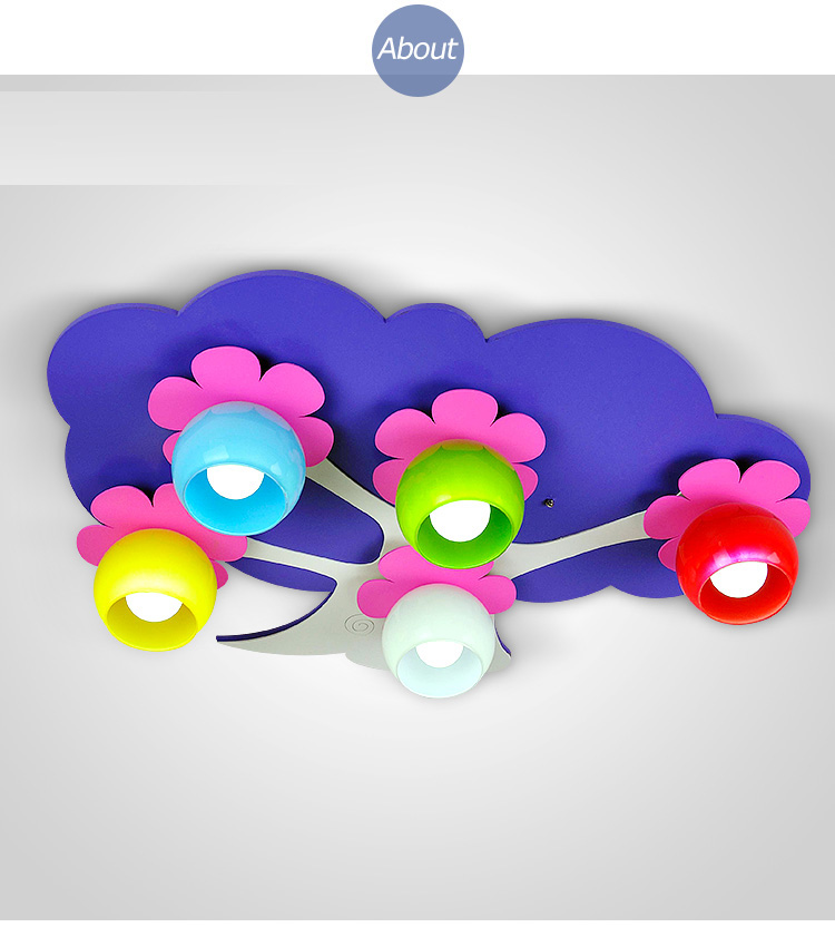 Ceiling light cute modeling lights creative children lights purple flowers flowers baby bedroom lights CL ET2
