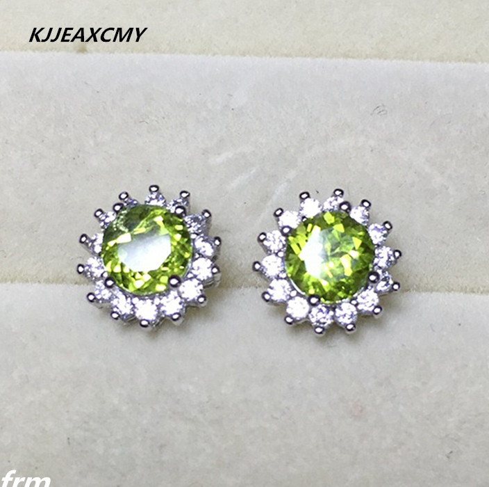 KJJEAXCMY Fine Jewelery In real photos, classic round female, Peridot stud, natural 925 silver anti allergy