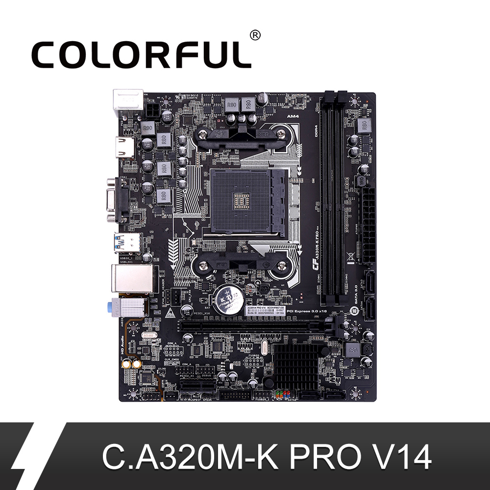Colorful C A320M K PRO V14 iGame Motherboard AMD M ATX Ryzen Processors  Gaming A320 Mainboard For Socket AM4 DDR4 USB3 0 SATA3 0-in Motherboards  from