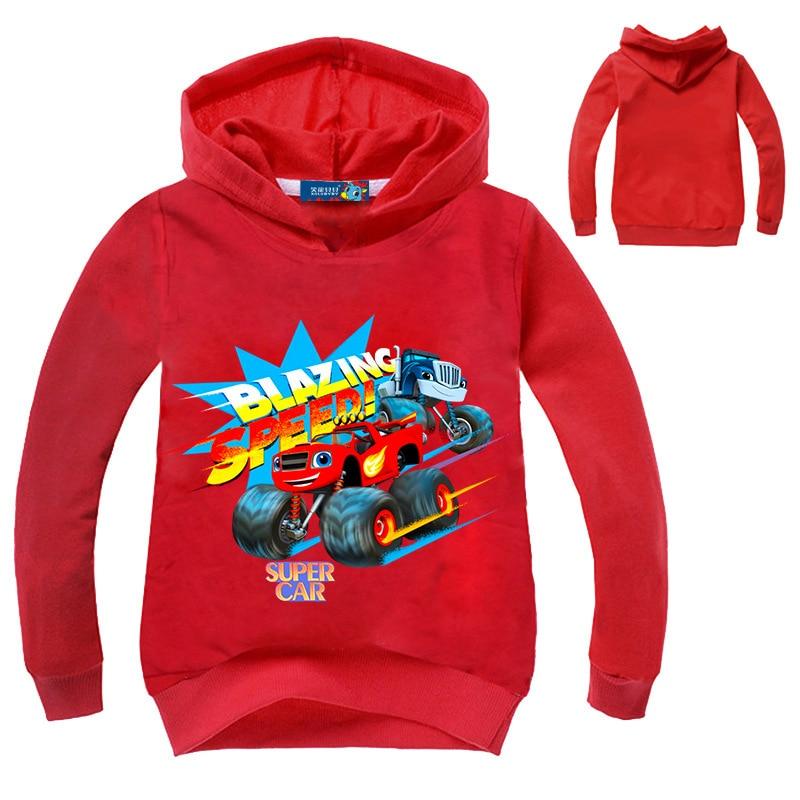Chidlren Clothes Blaze Car T shirt Boys Long Sleeve Sweatshirt Hoodies Tshirt Kids Boys Girls Clothing Coat