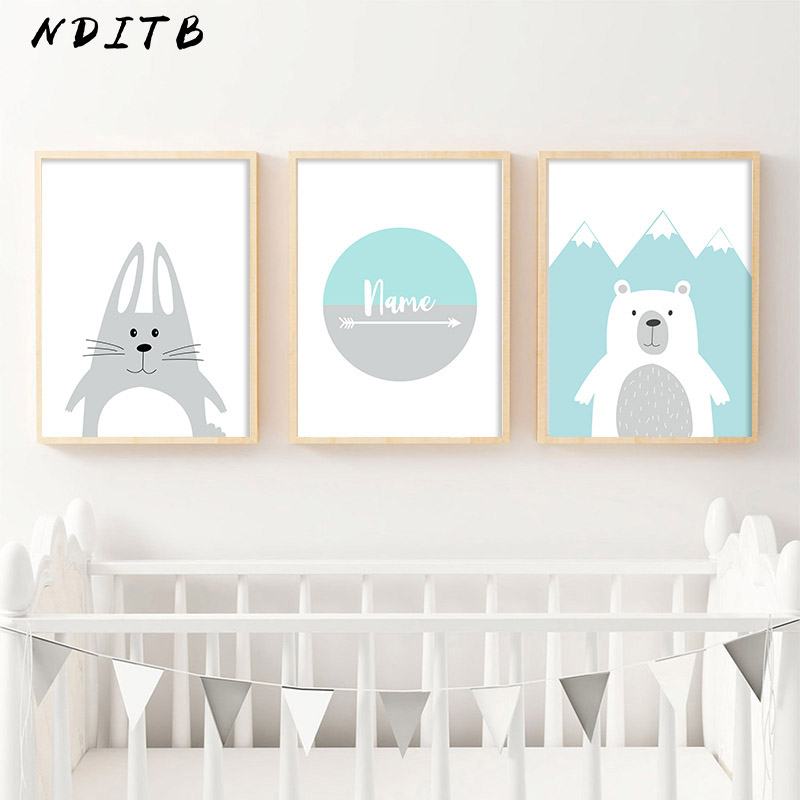 NDITB Cartoon Canvas Painting Personal Name Custom Posters Nursery Prints Wall Picture Nordic Baby Kids Bedroom Decoration