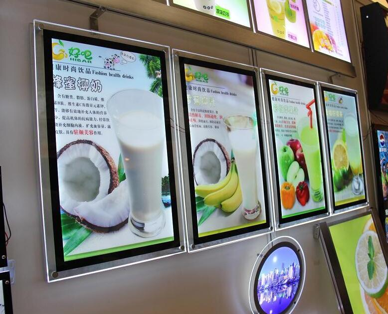 edge lit led menu slim lightboxes,acrylic black color advertising poster frames a4 size hot sell