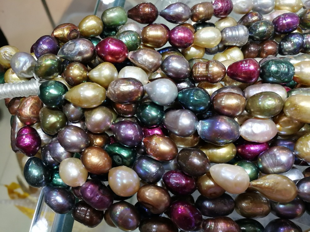 One Strands 12X15mm green purple brown colorful mixed baroque pearl natural freshwater pearl loose beads 35cm / 14.5inch DIY