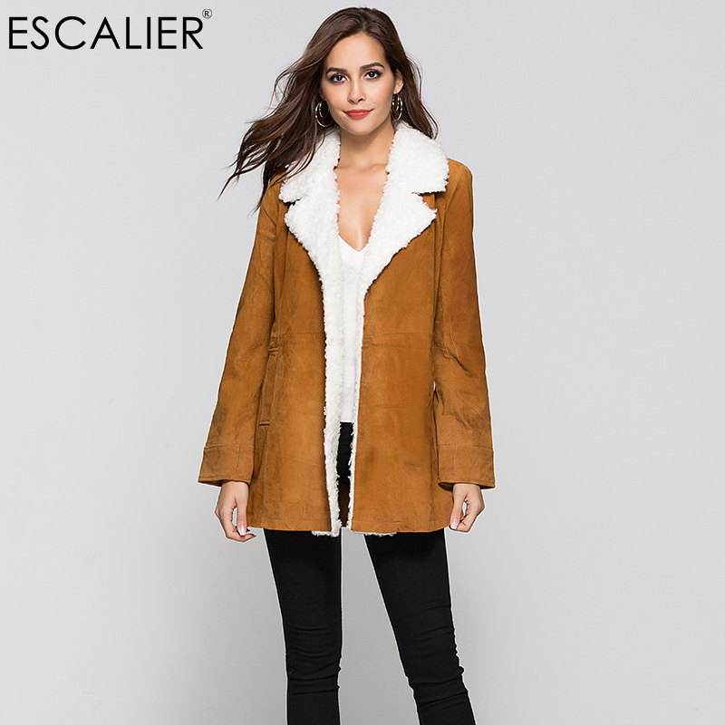 ESCALIER Women Pigskin Leather Suede Coats Vintage Motorcycle Thin Jacket Fur Warm Coats Autumn Genuine Leather coat