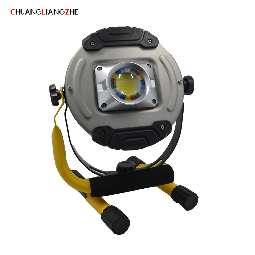 CHENGLIANGZHE20w Led Wick Portable COB Searchlight luminarias Rechargeable Portable Power 18650 Battery Portable Camping Light