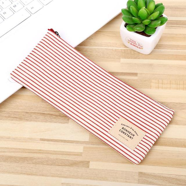 Korean Cute Girls Grid Stripes Canvas Pencil Bag Storage Organizer Case Office School Supply Promotional Gift Stationery by Mohamm