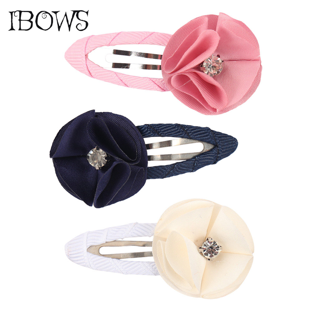 3Pcs/Lot Flower Floral Hairclip With Rhinestone Kids Hairpins Solid Grosgrain Ribbon Barrette Hair Accessories For Girls