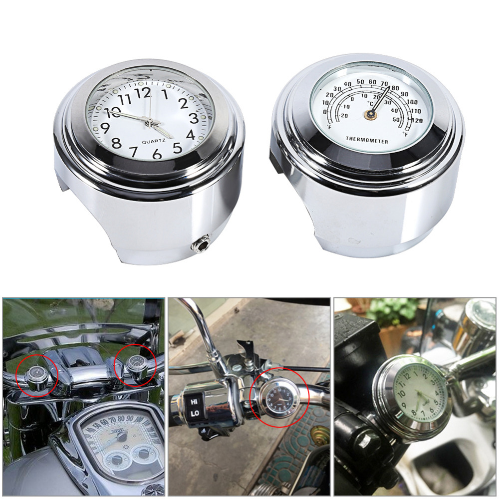 7/8 1 Motorcycle Handlebar Mount Watch Dial Clock & Thermometer Temp White