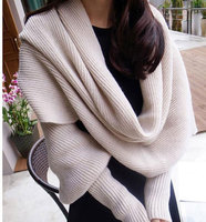 Fashion Woman Wrap Shawl Women Scarves Solid Scarf Sleeves Winter Warm Crochet Knit Long Soft Wrap