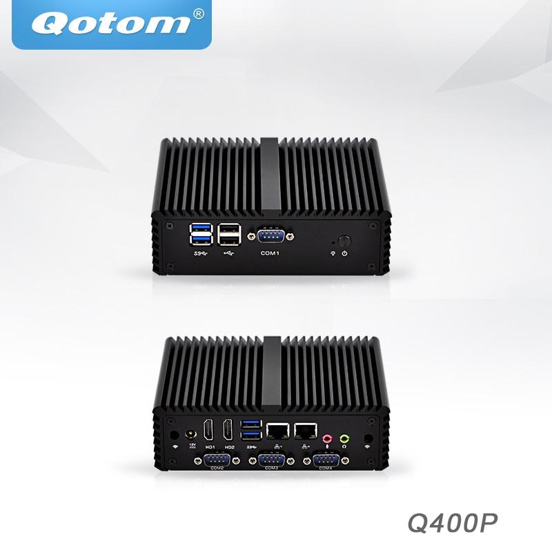 Qotom Mini PC With Celeron 3215U Core I3 I5 ,dual Core Pfsense Firewall Router Fanless Mini PC Linux Industrial Tiny Computer