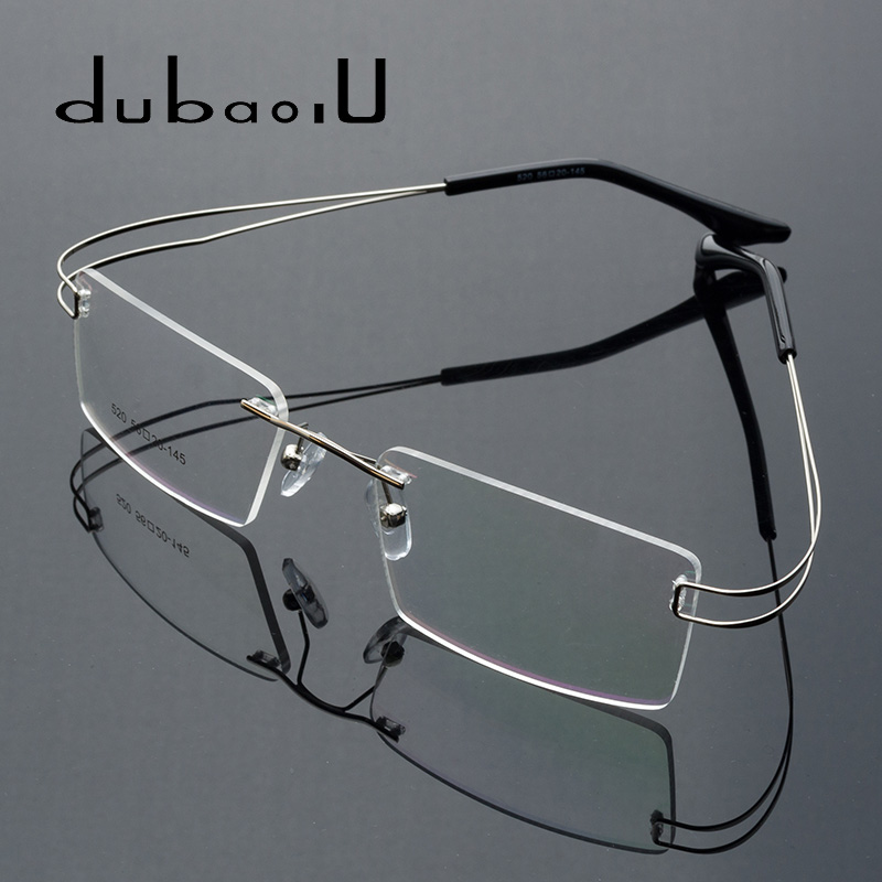 Flexible Metal Glasses Men Rimless Prescription Glasses Myopia Reading Noughts Zero Computer High Quality Eyeglasses For Men#520