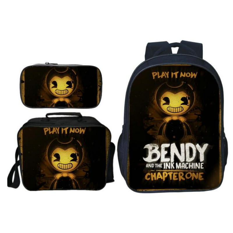2019 New Cartoon Game Bendy and The Ink Kids Baby School Bags for Children Backpacks Boys Schoolbag 3Pcs/Set Girls Bookbag2019 New Cartoon Game Bendy and The Ink Kids Baby School Bags for Children Backpacks Boys Schoolbag 3Pcs/Set Girls Bookbag