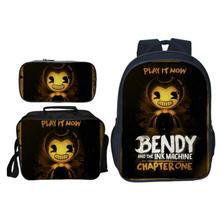 Купить с кэшбэком 2019 New Cartoon Game Bendy and The Ink Kids Baby School Bags for Children Backpacks Boys Schoolbag 3Pcs/Set Girls Bookbag
