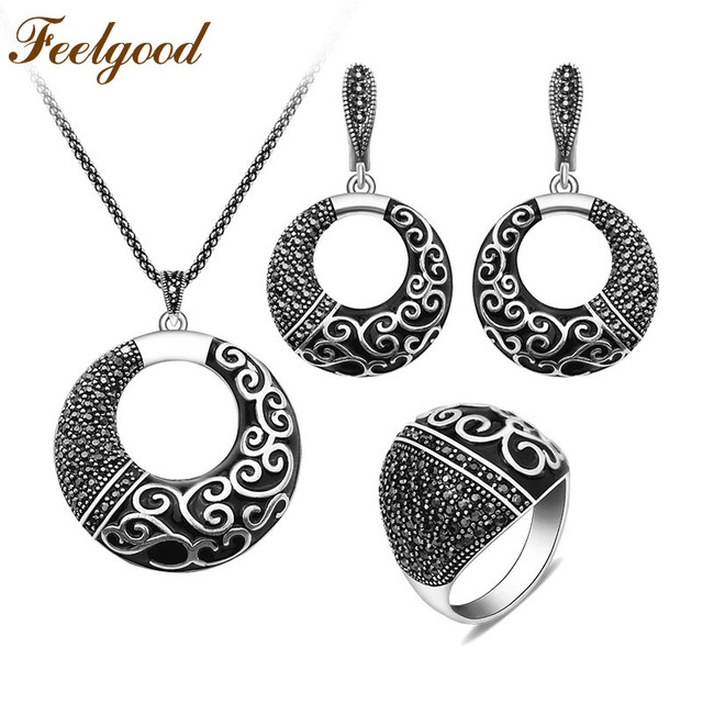 Feelgood Antique Silver Color Jewellery Set New Fashion Black Rhinestone  And Enamel Ethnic Vintage Jewelry Sets For Women