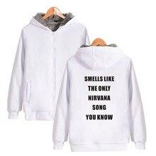 ALIZAZA ASTFSC White Black Sweatshirt XXS Smells Like The Only Nirvana Song You Know Print High Street Zipper Hoodies THICKEN