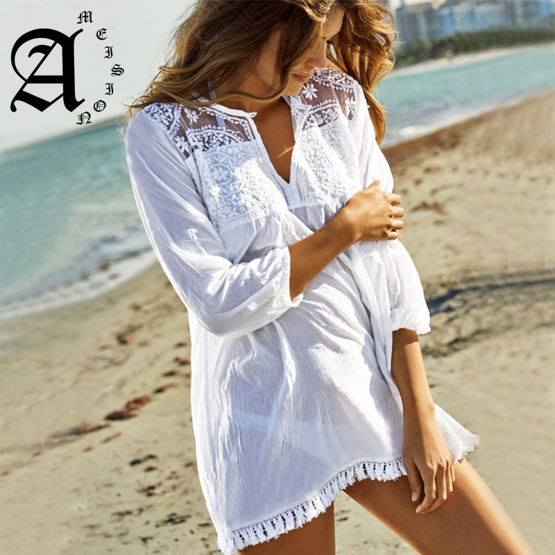 Ameision White Casual Beach Cotton Dress 2019 Bohemian Tunic For V-neck Lace Patchwork Shirt Dresses Vestidos Mujer