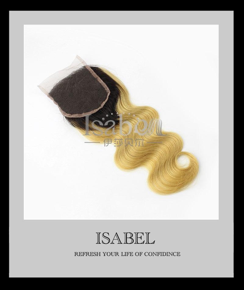 #1B/27 Brazilian Virgin Hair Ombre Lace Closure 1B/613 Bleached Knots Human Hair Body Wave Lace Closure Dark Roots Blonde Hair