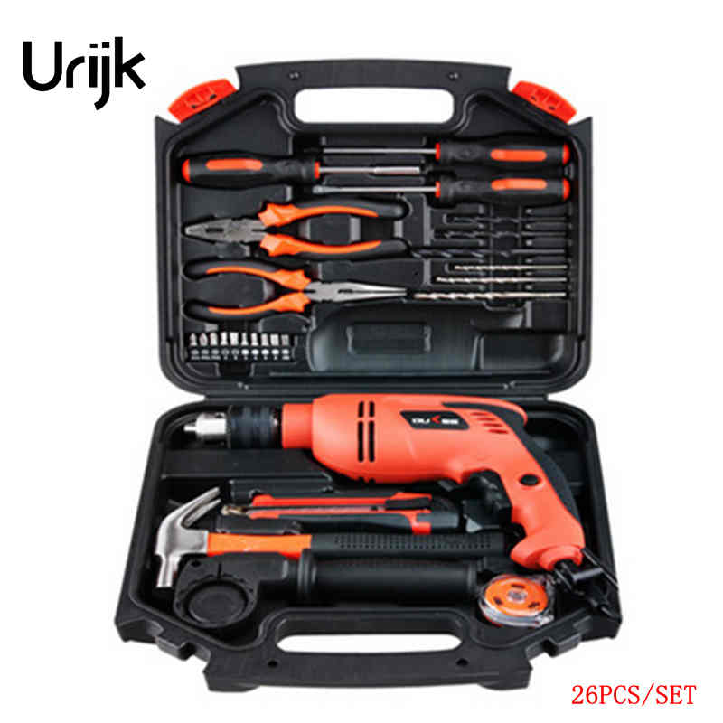 цены Urijk 1set Best Quality Multifunctional Electric Drill Impact Drill  Household Electric Woodworking Hardware Hand Tool Sets