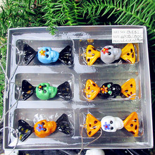 6pcs custom Antique Hand Blown Munuola Glass candy skull figurines Halloween decoration pendant glass sweets Creative gifts