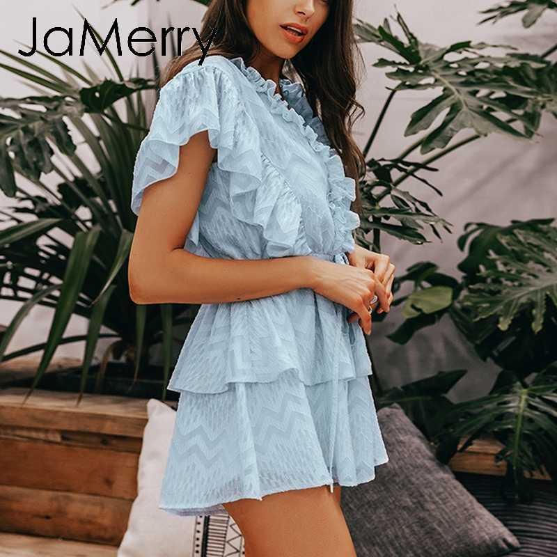 JaMerry винтажный элегантный гофрированный синий женский комбинезон летний с короткими рукавами и поясом комбинезоны Повседневные Вечерние милые комбинезоны 2019
