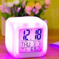 7 couleurs LED réveil numérique changement de bureau Gadget numérique alarme thermomètre affichage nuit lumineux Cube horloge décoration de la maison